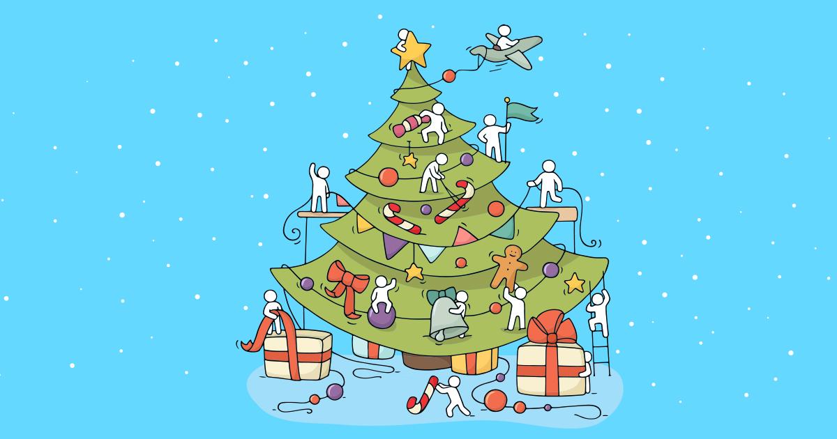 Uma árvore de natal decorada